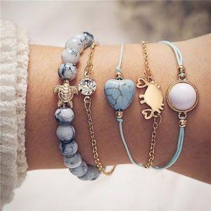 Set of 5 Bohemian Style Bracelets Beach theme